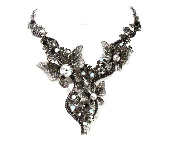 Hochzeit - Black Hematite Rhinestone Butterfly Bridal Statement Necklace, Black Wedding Necklace, Black Butterfly Evening Necklace