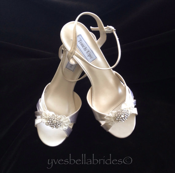 Wedding - MARGIE - Satin and Lace Wedge Heel Wedding Shoes with Crystal Brooch