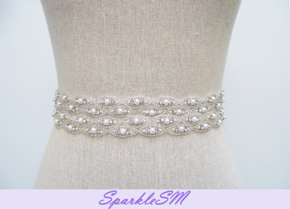 Wedding - Rhinestone Bridal Sash, Rhinestone and Crystal Wedding Belt, Rhinestone Pearls Satin Sash, Jeweled Beaded Sash, Bridal Accessories - Hayden
