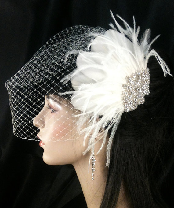 Hochzeit - Wedding Accessories, Bridal Accessories, Rhinestone Bridal Ivory Fascinator, Bridal Fascinator, Wedding Veil, Bridal Veil, Birdcage Veil