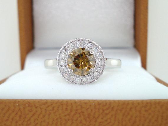 زفاف - Natural Champagne Brown Diamond Engagement Ring Halo 14k White Gold 1.01 Carat handmade Pave Set