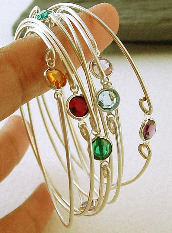 Birthstone Bracelets Stacking Silver Bangle Gemstone Bracelet Thin Bridesmaids Gift Gemstones Jewelry