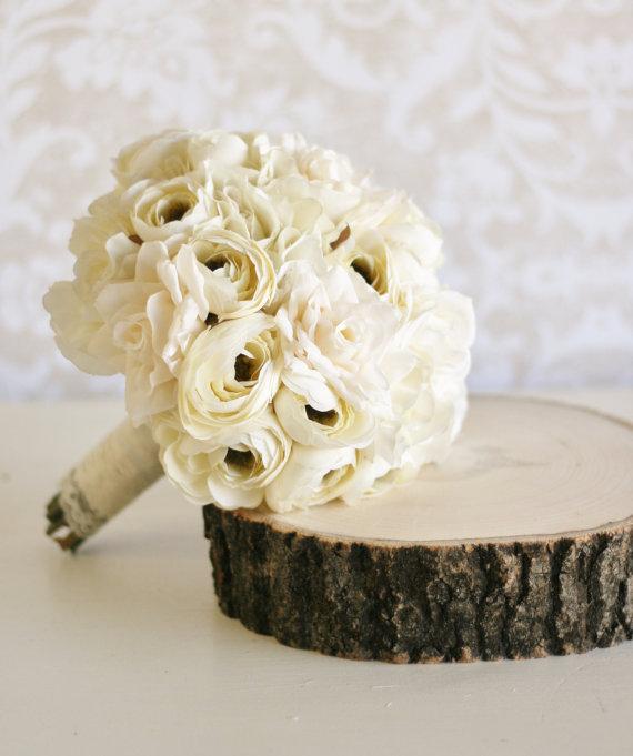 Mariage - Vintage Bride Bouquet Shabby Chic Wedding (item F10365)