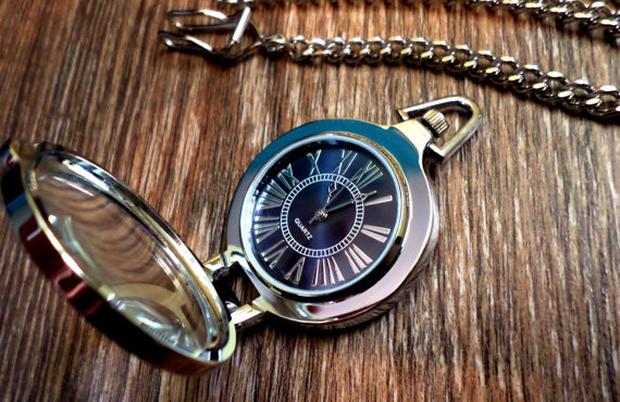 Mariage - Stand Up Silver Quartz Pocket Watch with Vest Chain Flip Open Front Mens Gift Groomsmen Gift Grooms Gift Ships from Canada