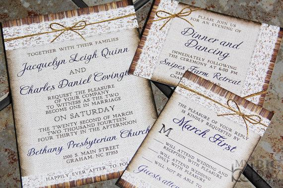 Hochzeit - NEW, Rustic, Linen, Lace and Twine bow Wedding Invitation Suite. Twine bow wedding invitations.