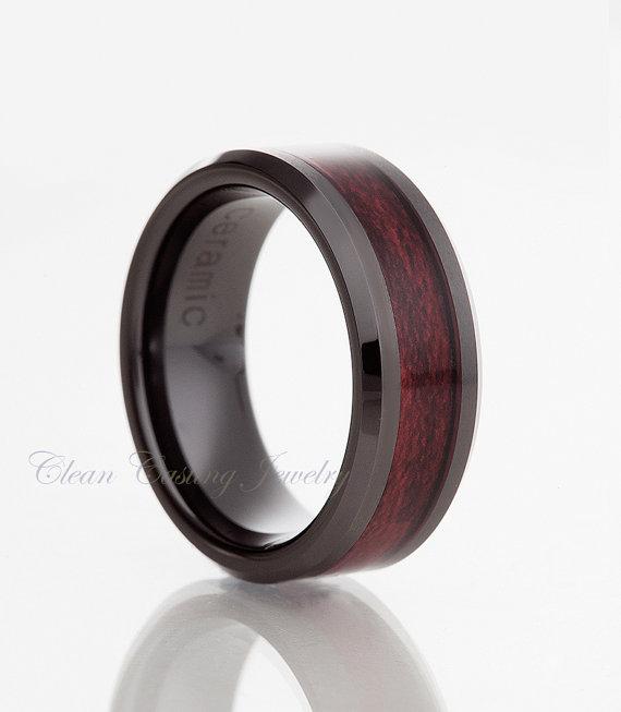 Black ceramic ringburgundy wood inlaymens ringblack for Ceramic mens wedding rings