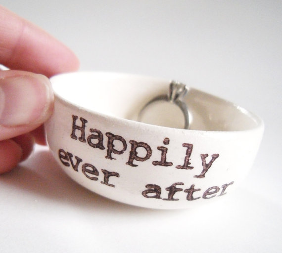 Wedding - HAPPILY EVER AFTER white ceramic ring dish wedding engagement anniversary gift idea handmade wedding ring pillow handprinted jewelry dish