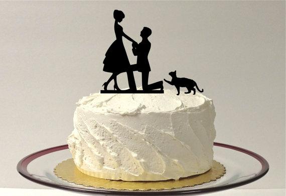 زفاف - CAT + BRIDE & GROOM Silhouette Wedding Cake Topper With Pet Cat Family of 3 Silhouette Wedding Cake Topper Bride and Groom Cake Topper