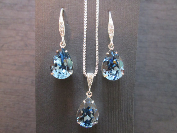 Hochzeit - Denim Blue Swarovski Bridesmaid Jewelry Set/Swarovski Blue Crystal/Bridesmaid Set/Crystal Necklace/Swarovski Blue Crystal Earrings/ Wedding