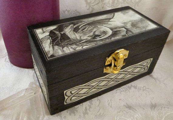 Celtic Dragon Box Black Wooden Origional Art Box Medieval