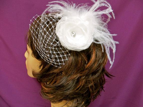 Свадьба - Bandeau Birdcage Veil, Bridal Floral Veil,  Wedding Veil