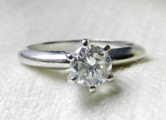 Wedding - Platinum Engagement Ring .65 Ct Platinum Diamond Engagement Platinum Ring Diamond Ring