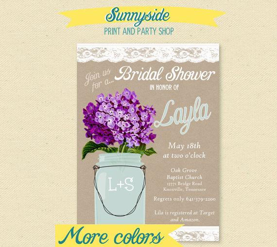 Hochzeit - Country Mason Jar Bridal Shower Invitation - You Choose Flower - Printable Kraft Burlap Lace Invite