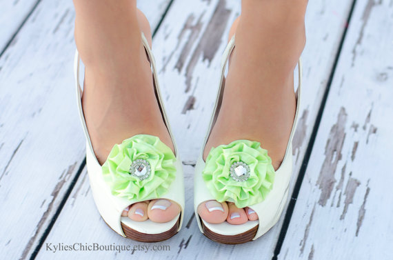 Mariage - Light Green Shoe Clips - Wedding, Bridesmaid, Date Night, Party, Everyday wear