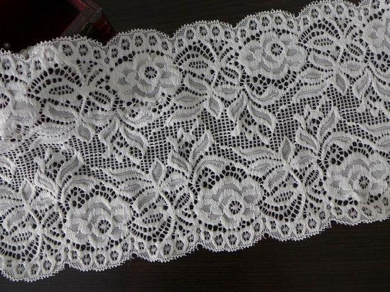 Mariage - White Stretch Lace Fabric, Wedding Bridal Elastic Lace Trim, Wide Headband Lace, Gloves Lace Supply, Lingerie Fabric Sewing
