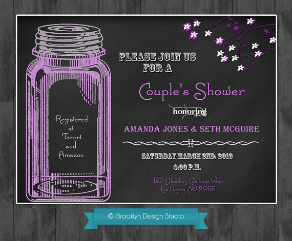 Hochzeit - Chalkboard and Mason Jar Custom Designed Invitation - Any Colors-  Shown in Purple, Black & White -  Digital File