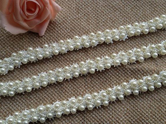 "Mariage - Ivory Wedding Bridal Beaded Trim 36"" long 0.78""wide for Women sash, Wedding Belt, Costume Jewelry"
