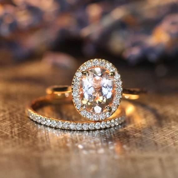 Hochzeit - Halo Ring Wedding Set in 14k Rose Gold 9x7mm Oval Morganite Engagement Ring and Half Diamond Eternity Wedding Band (Custom Ring Set ok)