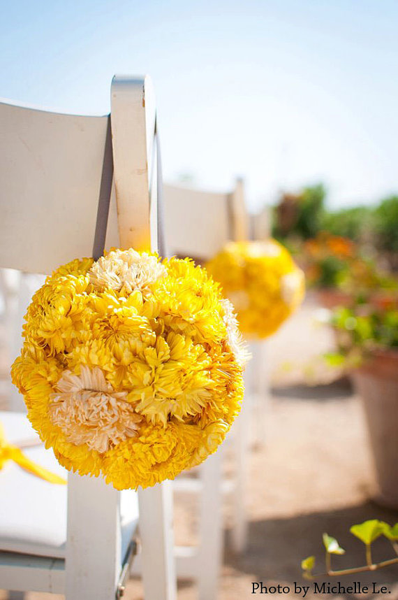 Eco Friendly Two Tone Wedding Pomander Yellow And Ivory Dried