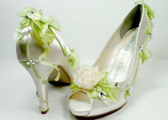 Свадьба - Ivory  Rose Fairytale  High Heels Wedding Shoes -  Faerie tale Princess Bride's Shoes
