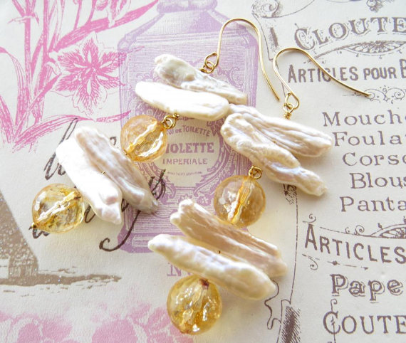 Mariage - Biwa pearl earrings, yellow citrine earrings, dangle earrings, uk gemstone jewels, uk jewellery, italian bridal jewels, wedding bijoux