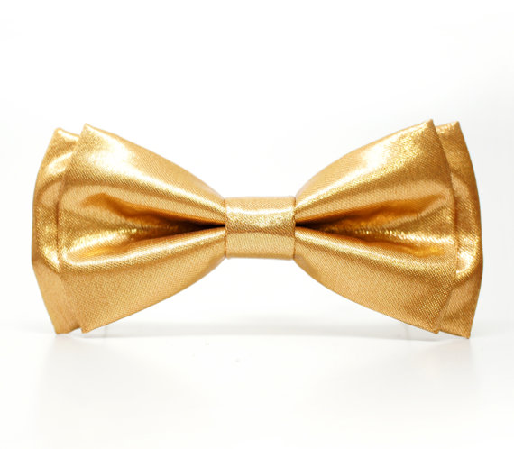Свадьба - Gold satin Bow Tie for Boys, Toddlers, Baby - Pre-tied bowtie - ring bearer, wedding day, photo prop, church, party, holiday