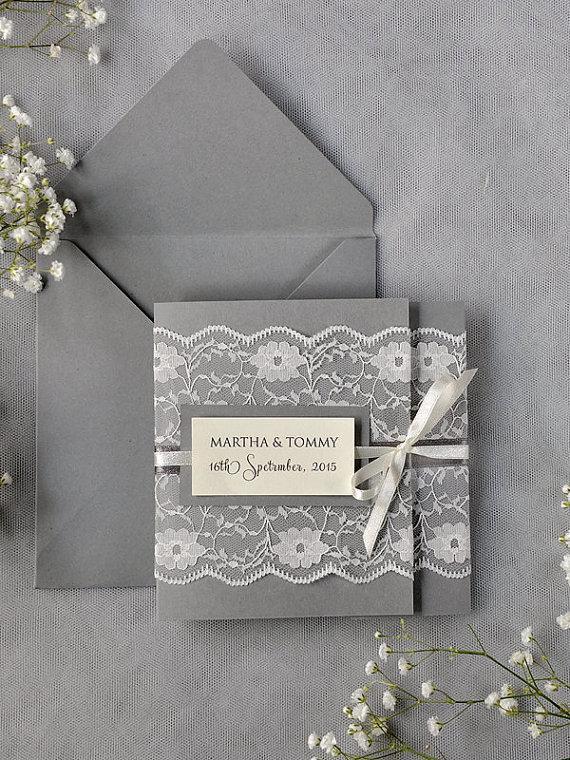 Mariage - Custom listing (20) Ivory Lace Wedding Invitations, Grey Wedding Invitation, Pocket Fold Wedding Invitations , Vintage Wedding invitation