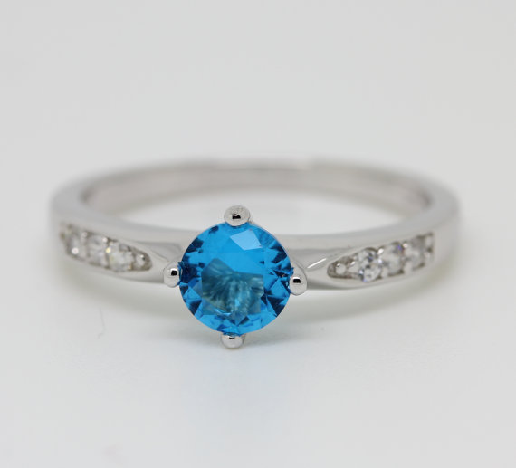 Mariage - Natural Aquamarine Solid Sterling Silver Solitaire engagement ring - handmade engagement ring - wedding ring