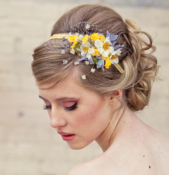 زفاف - Spring flowers headband, headbands for women and weddings, wedding hair, Bridal Hair Accessory, Wedding Accessories, Bridesmaid Hair Flower