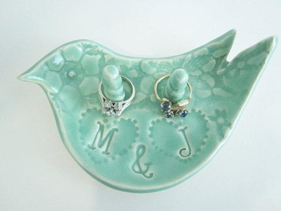 Mariage - Love bird ring holder, Wedding, engagement, bridal shower gifts