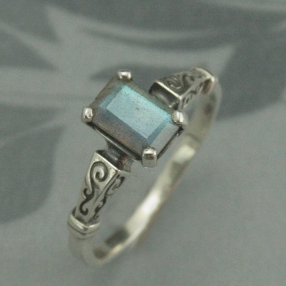Mariage - Labradorite Engagement Ring--Silver Hand Set with High Quality Emerald Cut Labradorite--Something Blue--Wedding Jewelry