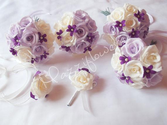 Mariage - Bridal bouquet,bridesmaids bouquet,paper flower,flower paper bouquet,wedding bouquet,paper flower bouquet,paper flower decor,paper roses,