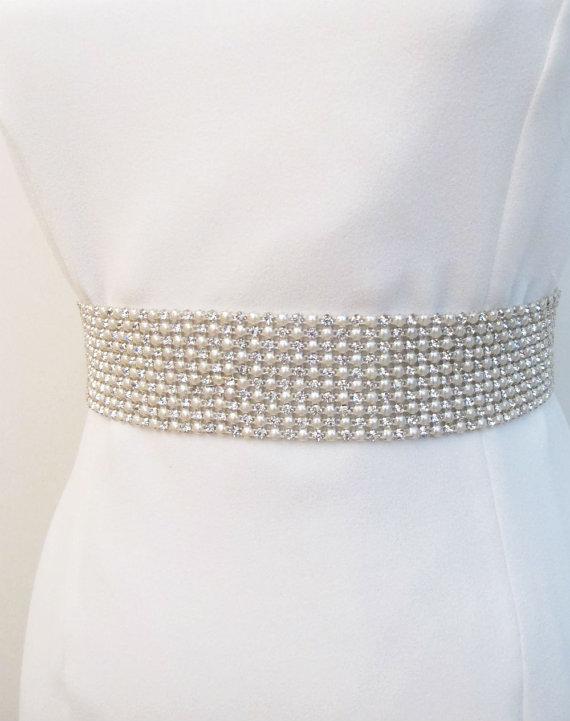 Mariage - Bridal Crystal Pearl Beaded Sash Belt Wedding Rhinestone Sashes Belts Ivory Wide