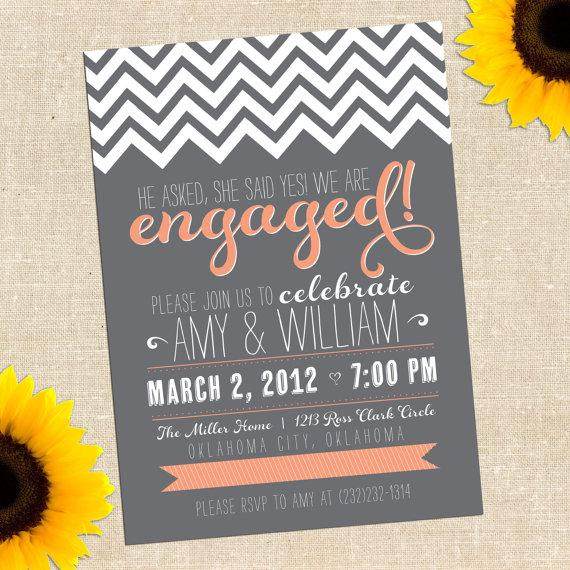 Mariage - Engagement Party Invitation, Engagement Invitation, Chalkboard Invitation, Engaged Invitation, He Asked She Said Yes, Party /CHALKBOARD