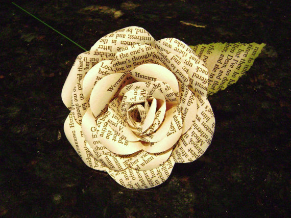 Paper rose flower made from recycled book pages wuthering heights paper rose flower made from recycled book pages wuthering heights emily bronte romance classic for wedding bouquets and decorations mightylinksfo