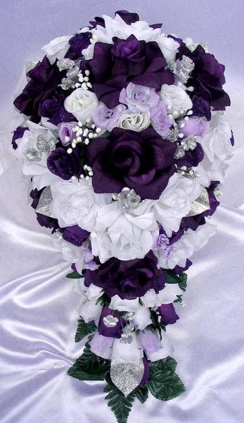 Free Shipping 21 Pcs Wedding Silk Flower Bouquet Bridal Package Purple Silver White Plum Cascade Centerpieces Rosesanddreams 2228439 Weddbook