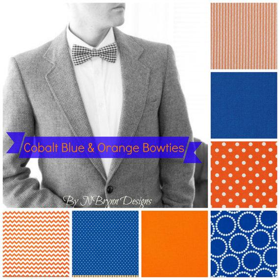Wedding - Men's cobalt & orange bowties - chevron polka dot seersucker royal blue bowtie wedding bowtie, groomsmen, ushers, ring bearer, father son