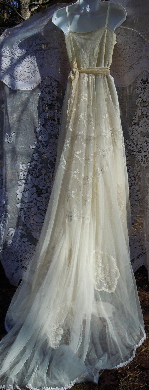 Lace Wedding Dress Boho Nude Cream Vintage Embroidery