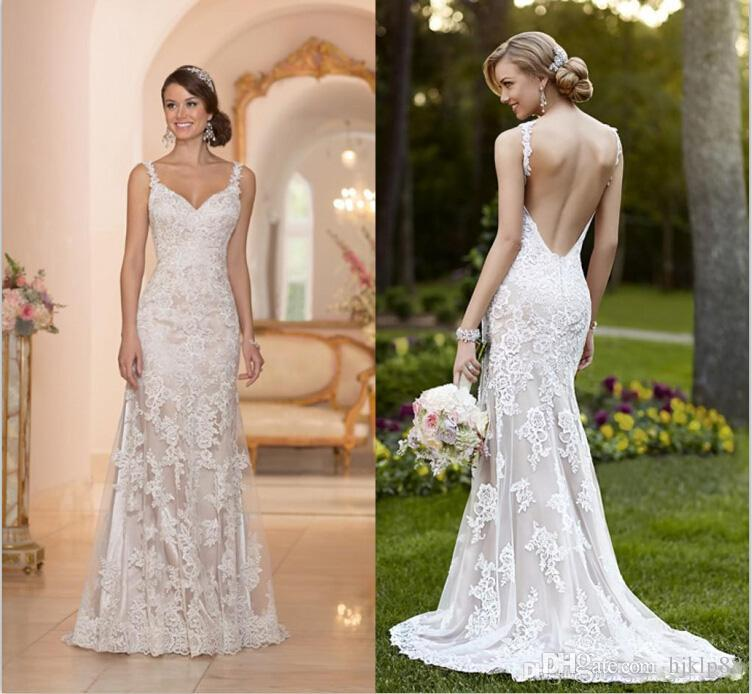 Elegant Stella York Inspired Ivory White Lace Wedding Dresses 2017 Backless Trumpet Mermaid Sweetheart Liques Sweep Train Bridal Gown 116 92