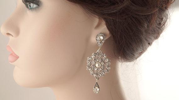 زفاف - Bridal earrings-Vintage inspired art deco earrings-Swarovski crystal rhinestone dangle earrings-Antique silver earrings-Vintage wedding