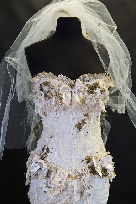 Wedding - Custom Size Ivory Burlesque Zombie Bride Corset Mermaid Style Dress With Long Train And Moss And Veil