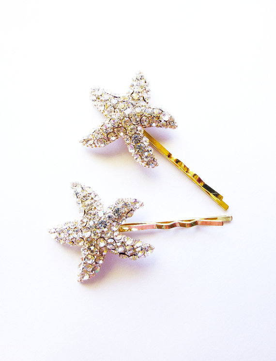 Hochzeit - Bridal Starfish Hair Pins Rhinestone Starfish Hair Clips Starfish Bobby Pins Beach Bride Beach Bridesmaids Beach Wedding Hair Accessories