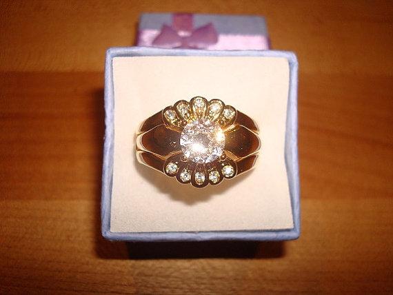 Wedding - Simulated Diamond 9Kt Yellow GF Engagement Wedding Ring Set Size 10 1/4