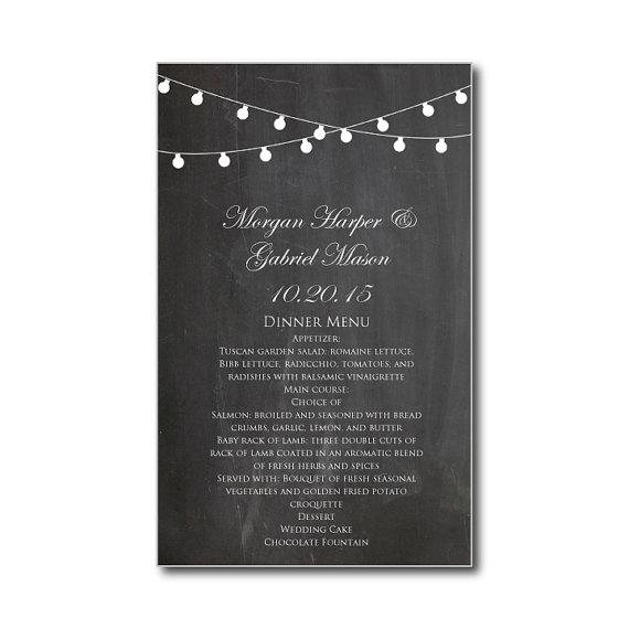"""زفاف - Chalkboard Wedding Menu Card - Chalkboard Wedding """"String Lights"""" Instant Download - EDITABLE TEXT - Microsoft Word Format"""