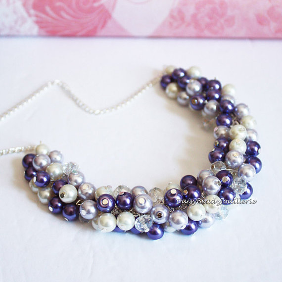 Mariage - Purple Necklace, Pearl Cluster Necklace, Purple Cluster Necklace, Bridesmaids Gifts, Purple and Ivory Necklace, Wedding, Jewelry, Necklace