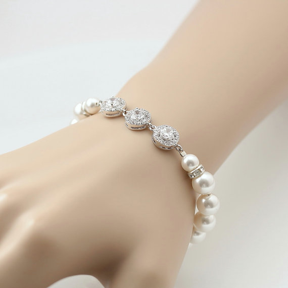 Свадьба - Bridal Bracelet Crystal Pearl Wedding Jewelry White OR Cream Cubic Zirconia Bridal Jewelry