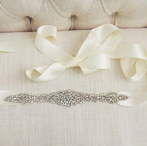 Hochzeit - MARIE - Crystal Beaded Bridal Belt Sash - Rhinestone wedding gown sash - Wedding Dress Belt - Crystal Belt