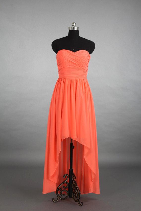 Hochzeit - Coral High-Low Sweetheart Bridesmaid Dress, Asymmetrical Chiffon Bridesmaid Dress Dress With Ruffle