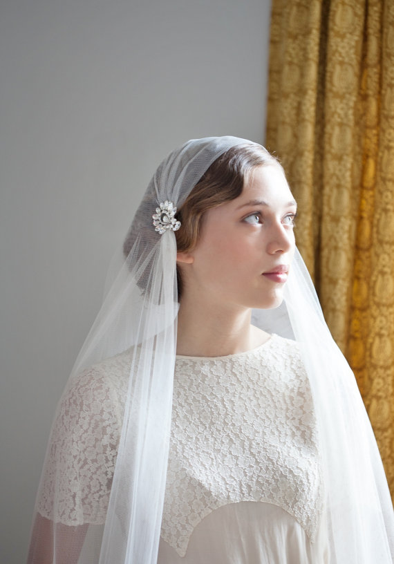 Ivory Wedding Veil Juliet Cap Style Art Deco Bridal 1930s Uk
