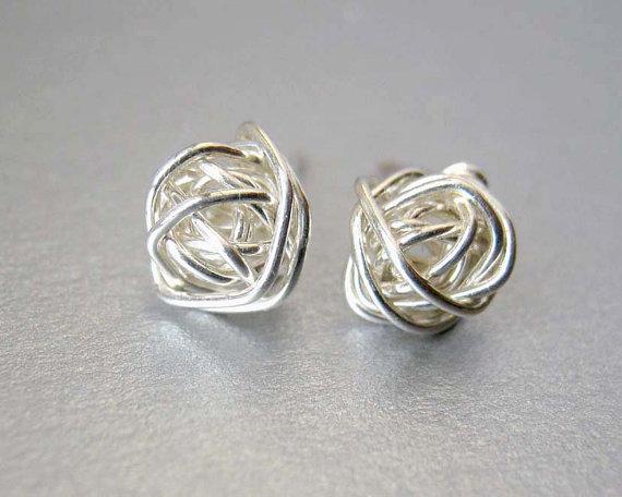 Hochzeit - SALE Stud Earrings, Sterling Silver Stud Earrings, Small Silver Post Earrings, Bridesmaids Earrings, Sterling Silver Earrings, Mothers Day